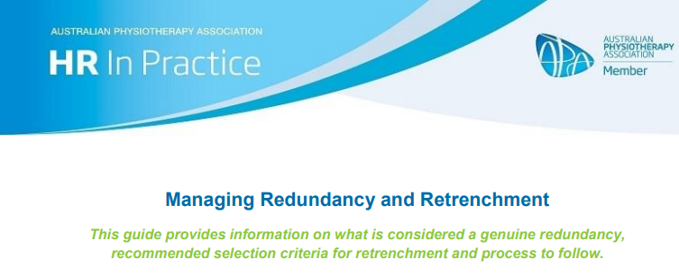 APA HR In Practice - Managing Redundancy and Retrenchment Guide - 23 March 2020
